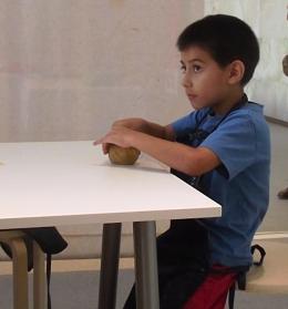 Tommy getting into a pottery workshop at Manarat Al Saadiyat