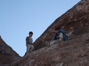 The boys loved climbing over the rocks