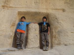 The boys as Nabatean statues