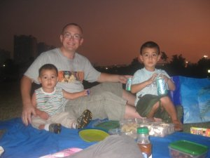 Having a picnic in the Corniche park