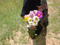 Picking flowers for mom is always a winner