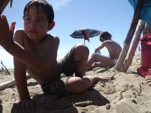 The boys always enjoy the beach