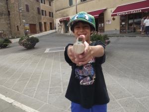 The boys took their peg guns made by Francesco to entertain themselves
