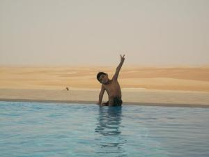 An expensive desert hotel with a fantastic infinity pool