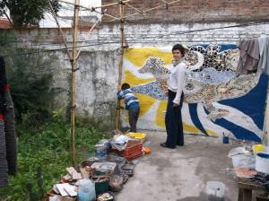 Painting the garden mural