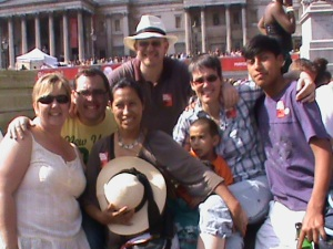 The gang in Trafalgar square