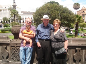 Outside the San Francisco church with baby Tommy and Mom and Ken
