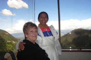 Mom and our favourite waitress at Hotel Quito