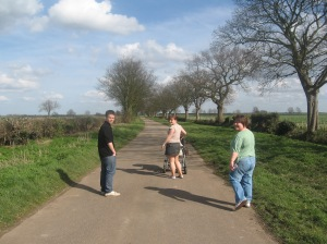 A walk in fens with Aunty Debbie and cousins Kelly and Jamie