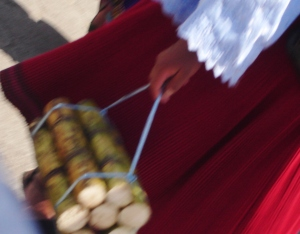 A girl carrying sugar cane