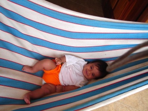 baby Tommy in a hammock