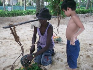 itinerant sellers on the beach make good opportunities for interaction for the boys